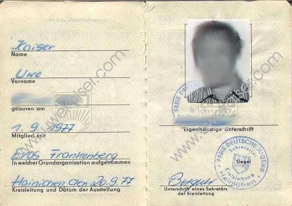 FDJ-Ausweis der DDR